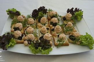 Canape with salmon mousse.