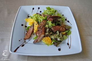 Salad with duck breast and parmesan